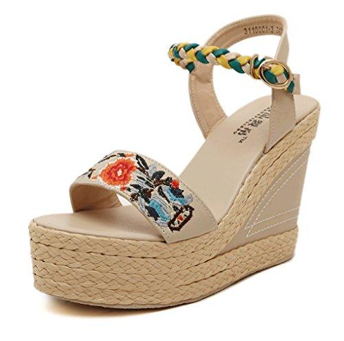 Sandalias Zapatos Verano Alto Sandalias Albaricoque Tacón Bordadas de de 6Uqw6Zv
