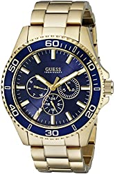GUESS Men's U0172G5 Gold-Tone Watch with Iconic Blue Multi-Function Dial