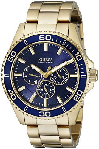 (GUESS Men's U0172G5 Sporty Gold-Tone Stainless Steel Watch with Multi-function Dial and Deployment Buckle )