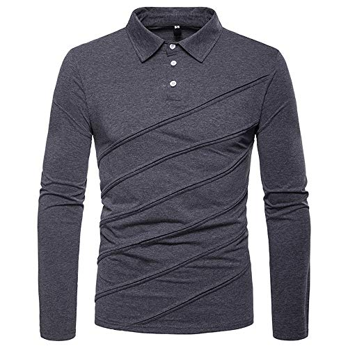Men Casual Shirt Solid Patchwork Stripe Long Sleeve Button Collar Tops Blouse