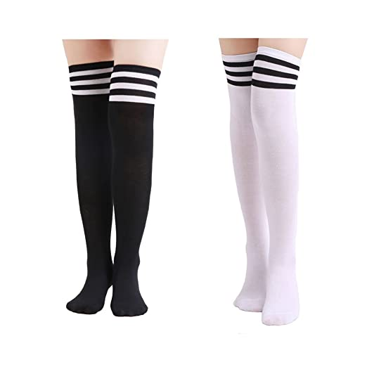 27aa9deff Teen Girls Hosiery Cotton Blend Thick Winter Spring Fall Foot Wear Long  Socks, Pack of 2 at Amazon Women's Clothing store: