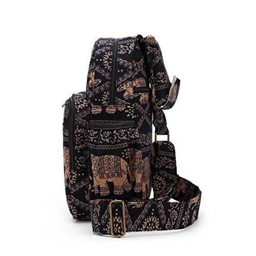 MIANZI Women Sling Bag Outdoor Sport Canvas Large capacity Crossbody Shoulder Cotton Fashion Backpack (Black) by MIANZI (Image #9)