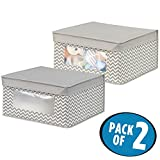 mDesign Soft Stackable Fabric Closet Storage Organizer Holder Box - Clear Window, Attached Hinged Lid, for Child/Baby Room, Nursery, Playroom - Medium, Pack of 2, Zig Zag Pattern in Taupe/Natural