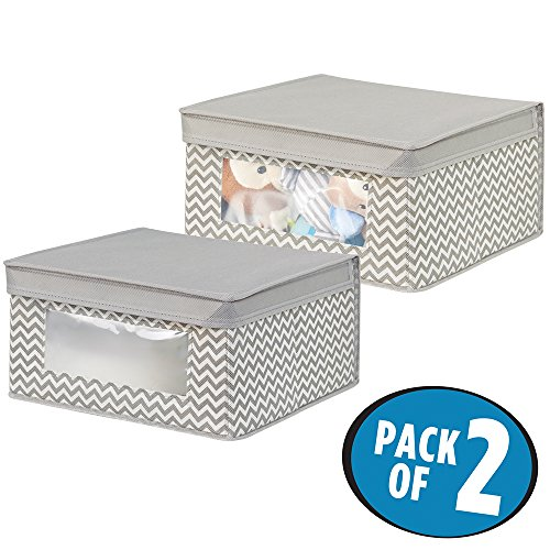 mDesign Soft Stackable Fabric Closet Storage Organizer Holder Box - Clear Window, Attached Hinged Lid, for Child/Baby Room, Nursery, Playroom - Medium, Pack of 2, Zig Zag Pattern in Taupe/Natural by mDesign