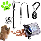 D-buy 4-in-1 Dog Training Set, Puppy Training Treats- Dog Treat Training Pouch, Bark Control Whistle, Dog Doorbells, Dog Clicker, Ideal Gift for First Time Pet Owners, Training Dog Owners (Gray)
