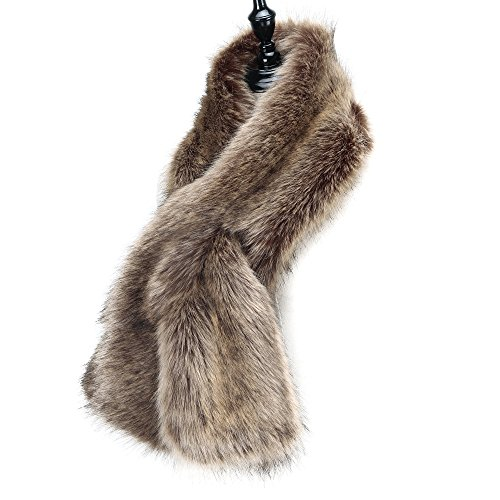 Caracilia Women Winter Scarf Wrap Faux Fur Collar Shawl Shrug Brown 120CA97 by Caracilia (Image #4)