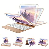 iPad Keyboard Case for iPad 2018 (6th Gen) - iPad 2017 (5th Gen) - iPad Pro 9.7 - iPad Air 2 and 1 - 360 Rotatable - Wireless - BT - Backlit 7 Color - iPad Case with Keyboard and Pencil Holder(Rose Gold)