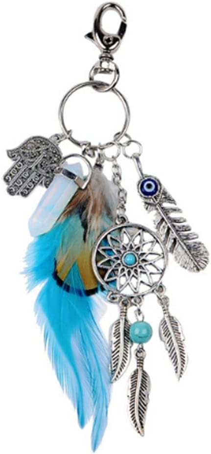 Dream Catcher Keychain Key Ring White Feather Tassel Bag Handbag Decoration