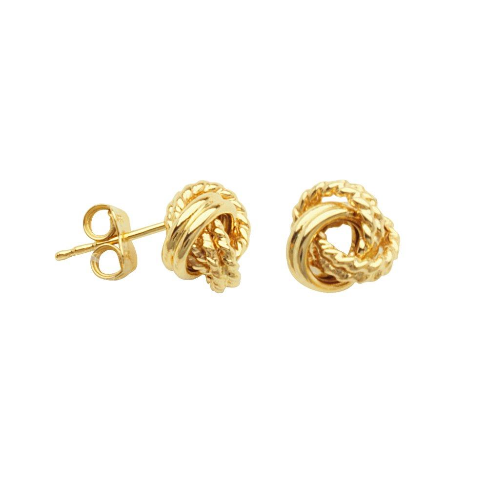 LOVE KNOT EARRINGS, 10KT GOLD HOOP & DIAMOND CUT DOUBLE 3 LOOP LOVE KNOT POST EAR