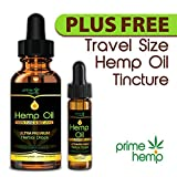 Hemp Oil - Pain Relief & Anti Anxiety Support - Natural Hemp Extract Liquid Supplement - Helps Stress, Sleep, Skin & Hair - Packed with Omega 3 & 6 FREE TRAVEL SIZE INCLUDED!!!