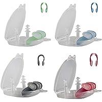 Flyfish, set van 4 neusclips en zwemmen, oordopjes, voor volwassenen en kinderen, 4 kleuren, siliconen voor het zwemmen…