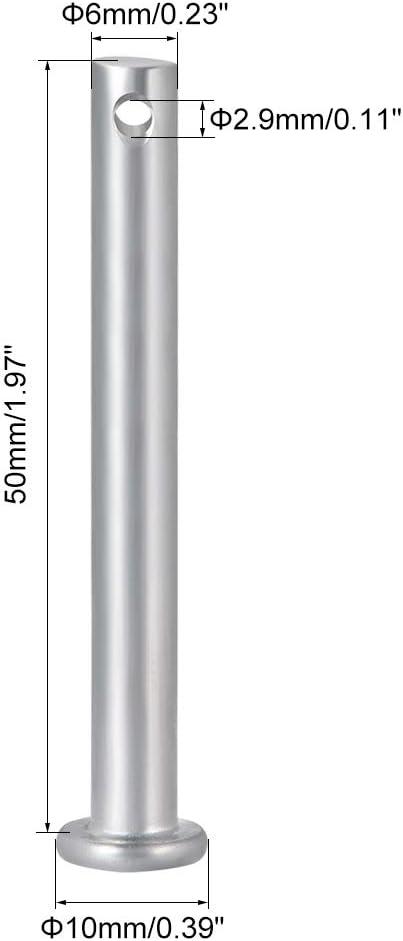 acero galvanizado Clavijas de un solo agujero 8 mm x 35 mm Sourcingmap cabeza plana 10 unidades