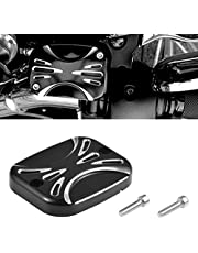 TUINCYN Motorcycle Brake Master Cylinder Cover Black Chrome Aluminium Fit for Harley Softail, Harley Road King Gliding Master Cover Dyna (pack of 1)