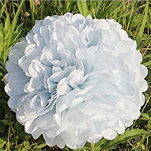 Annong 10PCS Wedding Tissue Paper Flower Ball Outdoor Decoration Paper Crafts Pom Poms Multicolor For Wedding Party (White)