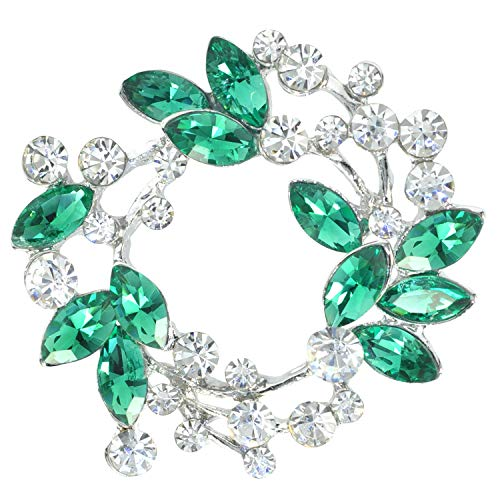 (Gyn&Joy Silvery Tone Emerald Green Crystal Rhinestone Flower Wreath Holiday Fashion Pin Brooch BZ005EG )