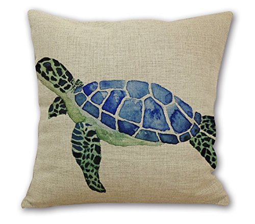 OneMtoss18'Inches Sea Life Series Cotton Linen Square Throw Pillow Case Cushion Cover Blue and Green Sea Turtles