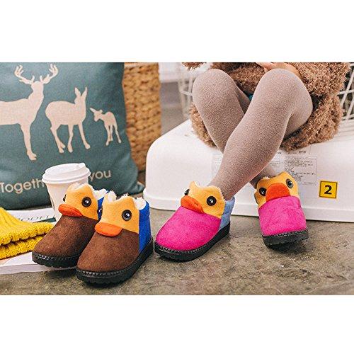 Hibote Winter Kinder Schneestiefel Ankle Boots Jungen Mädchen Hausschuhe Prewalker Stiefel Winddicht Warm Boots mit 3D Cartoon Tier Schnee Stiefel Gummisohle Rutschfeste Schuhe Rot