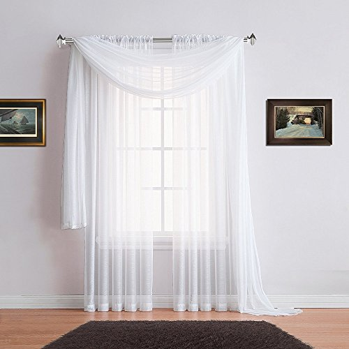 Warm Home Designs Pair of Premium Quality 54 x 84 Inch Sheer White Faux-Linen Rod Pocket Curtains. Total Width of These Affordable Drape Panels is 108