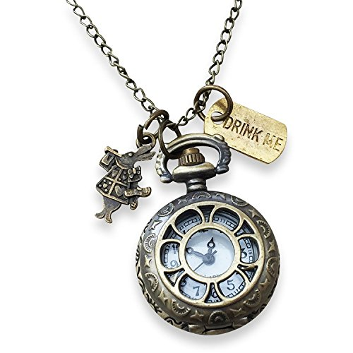 Alice Watch Pendant with Rabbit and