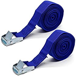"""2x Lashing Straps with Buckle Good for Roof-top Tie Down Mounted Cargo (10' x 1"""")"""