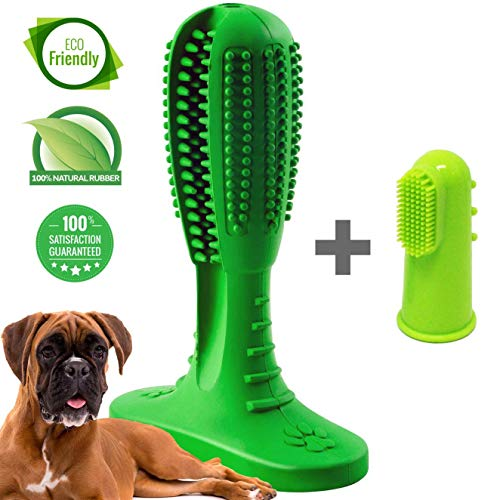Dog Toothbrush Toy - Doggy Brushing Stick with Finger Dog Toothbrush - Pet Toothbrush - Upgrade 2019 Non Toxic Rubber Bite Resistant Dental Puppy Chew Toy for Teeth Cleaning