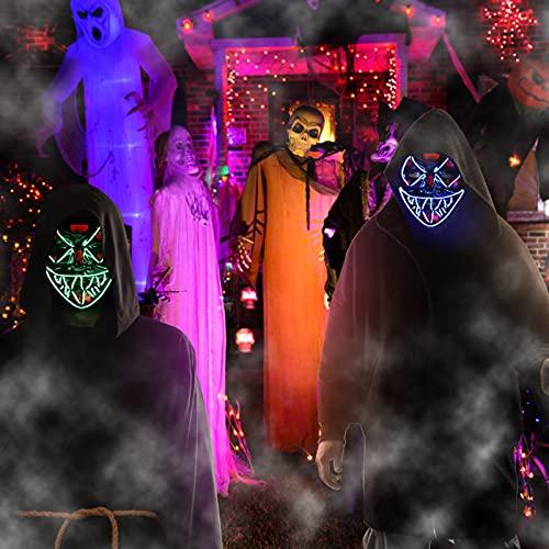 Molbory LED Purge Maske Halloween Maske - LED Grusel Masken mit 3 Lichteffekten im Dunkeln Leuchtend, Halloween Purge Maske für Halloween Cosplays Fasching & Karneval als Kostüm für Damen & Herren
