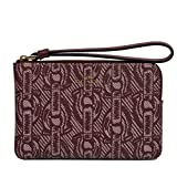 Coach Crossgrain Leather Corner Zip Wristlet Wallet (Claret)