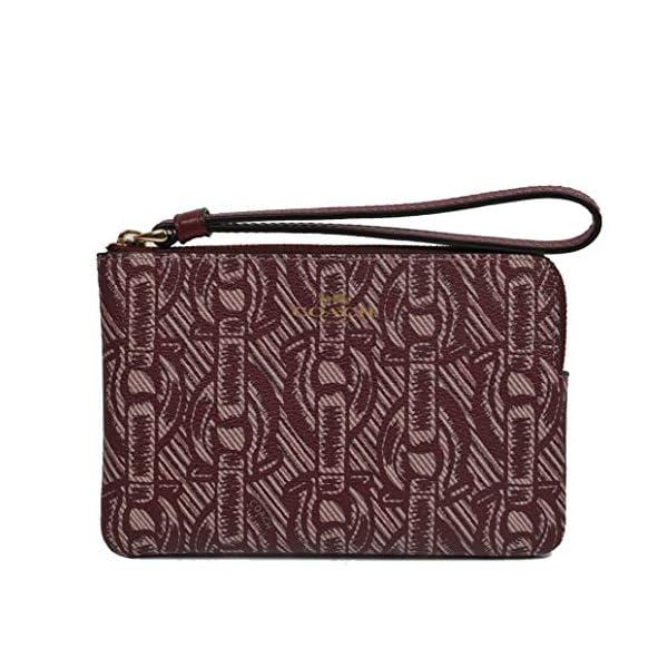 Coach Crossgrain Leather Corner Zip Wristlet Wallet (Claret)