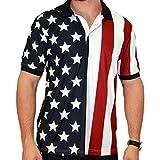 Men's Stars & Stripes Polo T-Shirt (Medium, RWB)