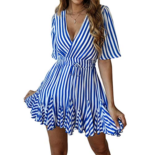 (Finerease Women's Deep V-Neck Short Sleeve Striped Mini Casual Ruched Dress (Blue, Small))