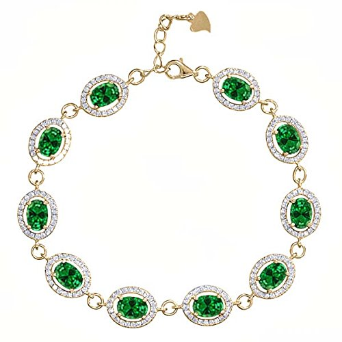 Gem Stone King 15.28 Ct Oval Green Simulated Emerald 18K Yellow Gold Plated Silver 7.5inches Bracelet