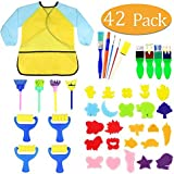 Kids Early Learning Sponge Painting Brushes Kit, 42 Pieces Sponge Drawing Shapes Paint Craft Brushes for Toddlers…