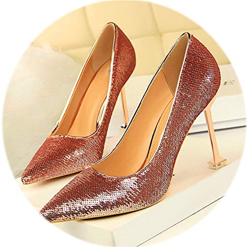 (AMAZING AMAZING 2019 New Women's High Heels Shoes Pointed Shining Sequined Cloth Wedding Shoes Party)