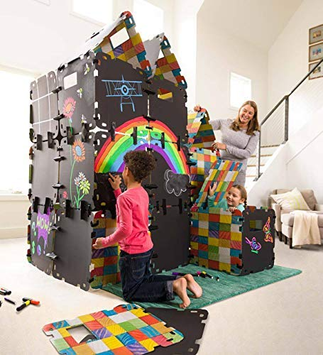 HearthSong Fantasy Fort Full Chalkboard Fort Building Kit - Velcro Connectors - Carton Building Clips - Includes 16 Panels - Each Panel Measures 22 W X 22 H by HearthSong