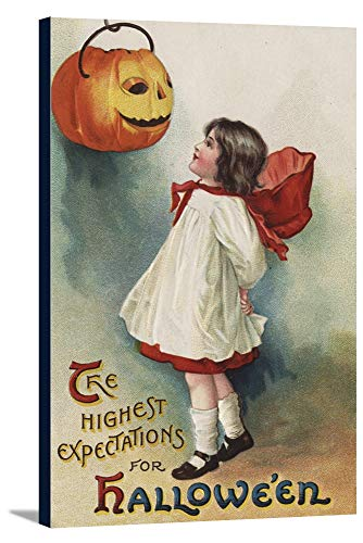 Halloween Greeting - Girl in Red and White (22 1/2x36 Gallery Wrapped Stretched Canvas)]()