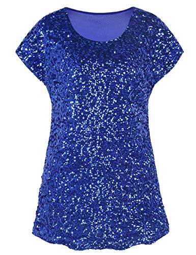 Shiny Glitter - PrettyGuide Women's Sequin Blouse Loose Fit Flashy Party Tops Dolman Sleeve Blue M/US10-12