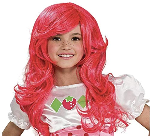 Strawberry Pink Wig for Kids - Curly Wavy Hair Synthetic Fiber Anime ()
