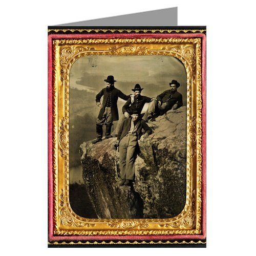 1 Vintage Greeting Cards of Union Private Henry McCollum of Company B, 78th Pennsylvania Infantry Regiment and three unidentified soldiers in 78th Pennsylvania Infantry uniforms at Point Lookout, Tennessee during the Civil War