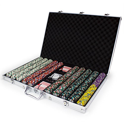 1000ct Showdown Poker Chip Set in Aluminum Case, 13.5-gram Heavyweight Clay Composite by Claysmith Gaming 1000 Piece Aluminum Poker Case