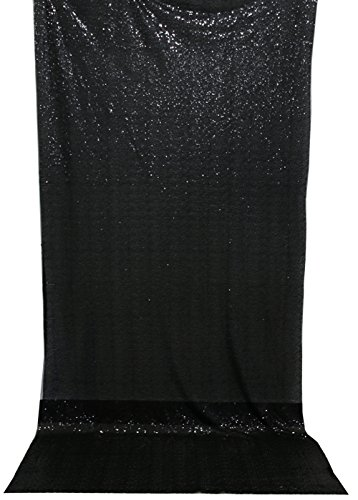 Langxun 4.3ft X 8.5ft Black Shimmer Sequin Fabric Photo Booth Backdrop Sequin Curtain | Shimmer Sequin Tablecloth (Black)