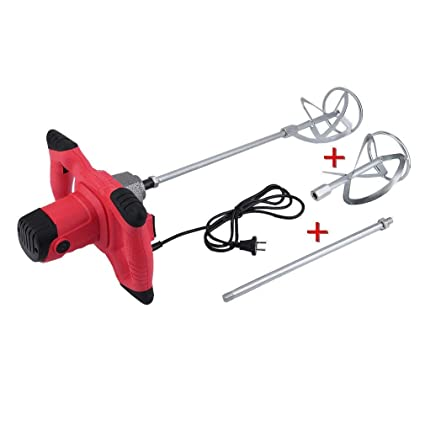 Homgrace 2350W Mezclador Batidor para Pintura Mortero con Agitador, 250V Rojo (2 X Varilla Mezcladora-Rojo)