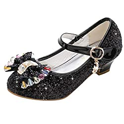 Girls Candy Bowknot Rhinestone Sequins Shoes
