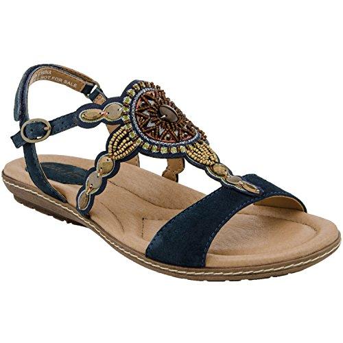 Suede Blue Moroccan Flat Sunbeam Earth Women's Sandal AxwqYAX4f