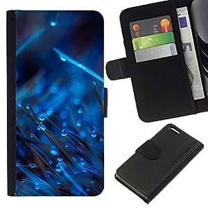 All Phone Most Case / Oferta Especial Cáscara Funda de cuero Monedero Cubierta de proteccion Caso / Wallet Case for Apple Iphone 5C // BLUE DROPS ON GRASS