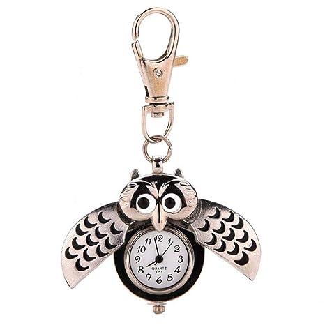 Amazon.com: Fansport Llavero reloj retro con forma de búho ...