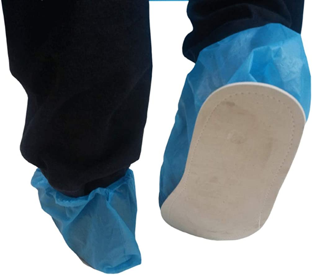 Exceart 10 Pairs Disposable Shoe Covers Elastic Waterproof Boot Covers Anti-Slip Overshoe for Medical Hospital Personal Isolation Protection