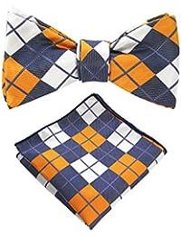 Original Mens Bowtie Self Bow Tie & Pocket Square Set