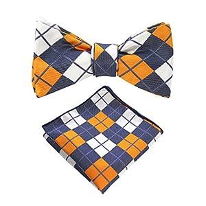 JEMYGINS Original Plaid Mens Bowtie Self Bow Tie & Pocket Square Set (01#11)