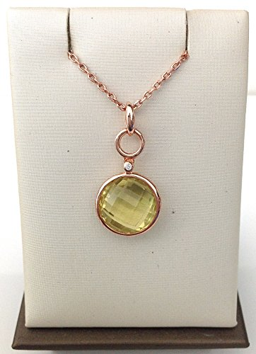 6.76 CTS Lime Quartz Pendant w/ Chain Sterling Silver 925 Rose Gold (Lime Quartz Pendant)