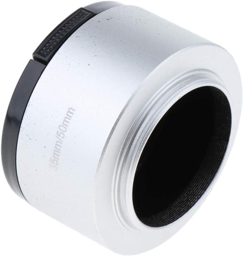 Silver 35mm Aluminum Screw-in Lens Hood for 35mm f//1.7 50mm f//1.4 CCTV Lenses 46mm Lens Cap